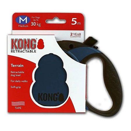 Guia Retrátil Kong Terrain M Azul Cães até 30kg 5m