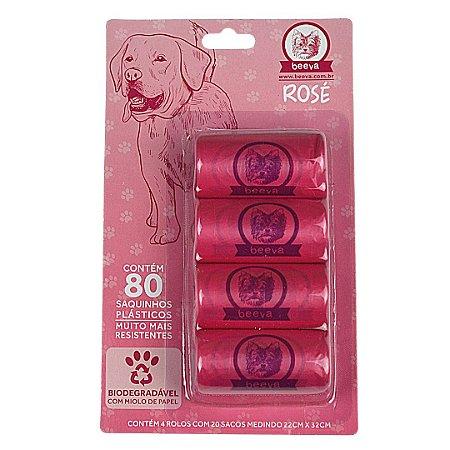 Refil Cata Caca Saquinhos 4x20 Biodegradável Beeva Rose