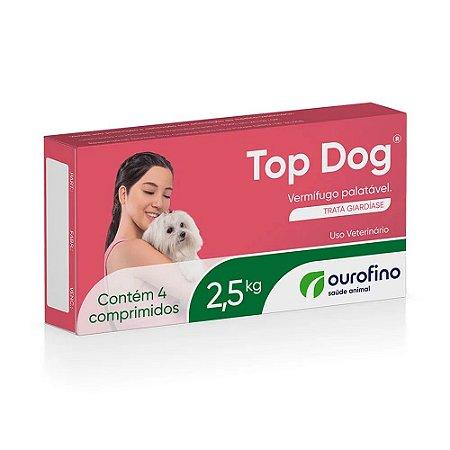 Vermífugo Top Dog para cães de até 2,5 Kg - 4 Comprimidos