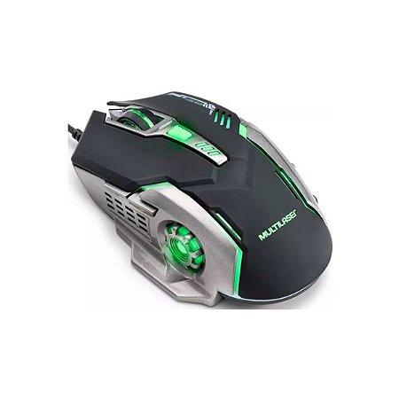 Mouse Gamer Multilaser 2400DPI Preto Grafite Led Verde MO269