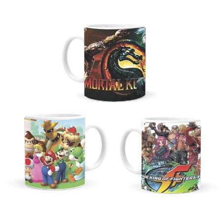 KIT 3 Canecas - Mortal Kombat, Super Mario e The King of Fighters