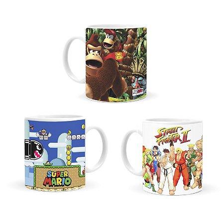 Kit 3 Canecas - Super Mario World, Donkey Kong e Street Fighter