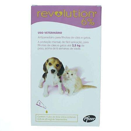 Revolution Zoetis 6% 0.25ml Filhotes Cães e Gatos até 2,5Kg