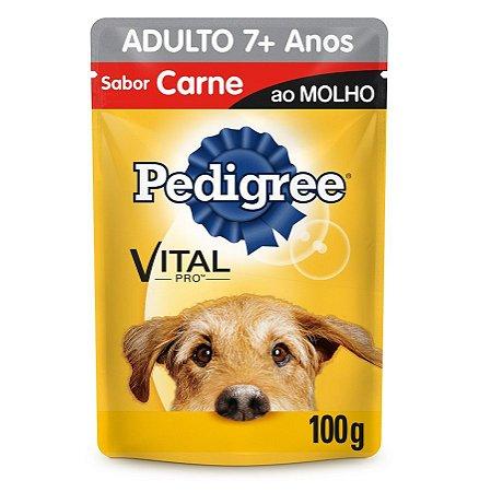 Ração Úmida Pedigree Para Cães Adultos 7+ Anos Sachê Sabor Carne ao Molho - 100g