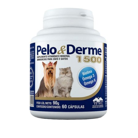 Pelo & Derme 1500 Vetnil - 60 Cápsulas