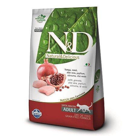 Ração N&D Gatos Adultos Farmina Grain Free Sabor Frango e Romã