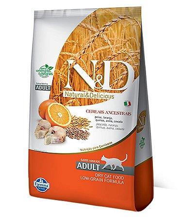 Ração Farmina N&D Low Grain para Gatos Adultos Sabor Peixe e Laranja