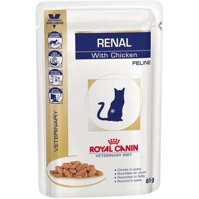 Ração Royal Canin Sachê Feline Veterinary Diet Renal Frango para Gatos com Doença nos Rins - 85 g
