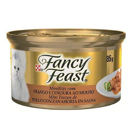 Mini Filés Fancy Feast para Gatos Adultos Sabor Frango e Cenoura ao Molho - 85g
