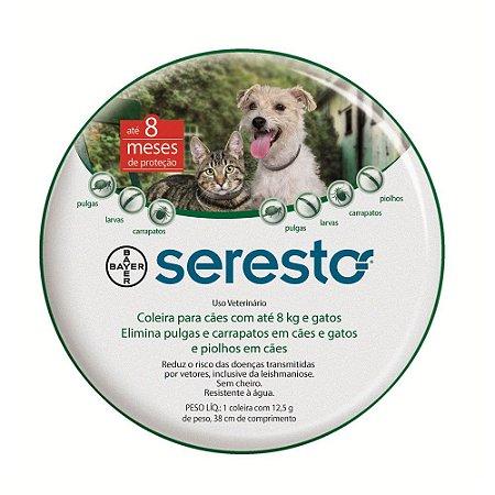 Coleira Anti Pulgas e Carrapatos Bayer Seresto para Cães e Gatos até 8 Kg