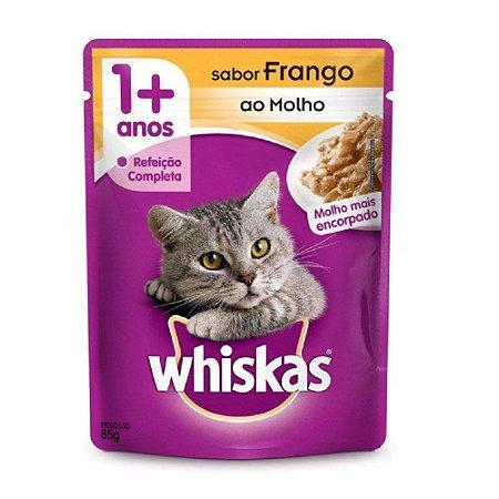 Ração Úmida Whiskas Sachê para Gatos Adultos Sabor Frango ao Molho - 85g