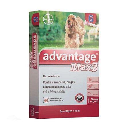 Antipulgas e Carrapatos Advantage Max3 2,5ml para Cães entre 10 e 25kg