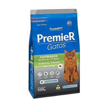 Ração Premier Ambientes Internos para Gatos Adultos Castrados 12+ Sabor Frango