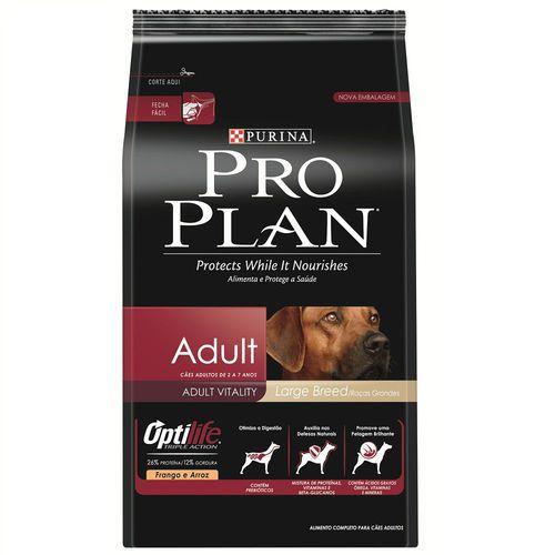 Ração Nestlé Purina ProPlan para Cães Adultos de Raças Grandes Sabor Frango e Arroz - 15kgs