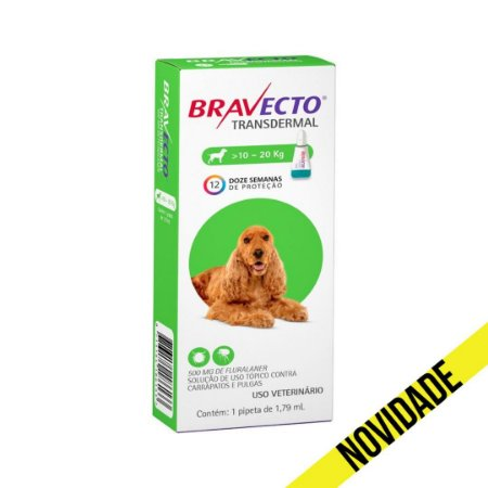 Antipulgas e Carrapatos Bravecto Transdermal MSD para Cães 10 a 20kg