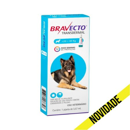 Antipulgas e Carrapatos Bravecto Transdermal MSD para Cães 20 a 40kg