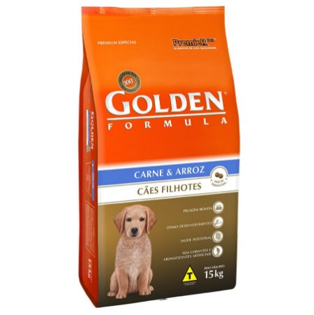 Ração Golden Premier Filhote para Cães Sabor Carne e Arroz 15Kgs