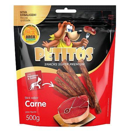 Snack Petitos Para Cães Sticks Sabor Carne - 500g