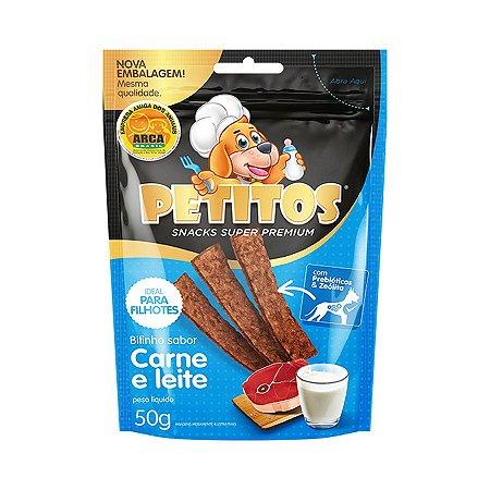 Snack Petitos para Cães Filhotes Sabor Carne e Leite - 50g