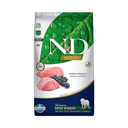 Ração N&D Prime para Cães Adultos de Raças Grandes Sabor Cordeiro e Blueberry - Maxi 10Kgs