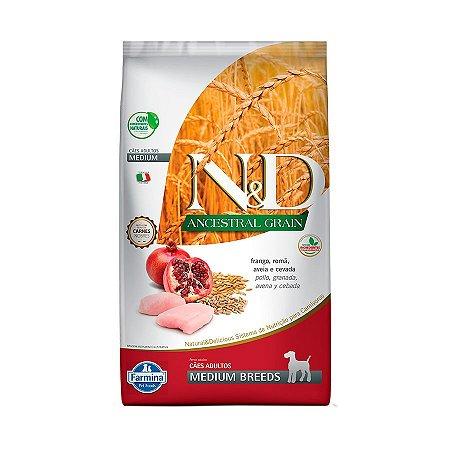 Ração Farmina N&D Ancestral Grain para Cães Adultos de Raças Médias Sabor Frango e Romã - 10Kgs