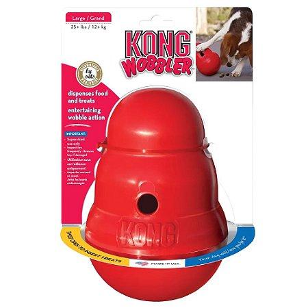 Brinquedo Dispenser para Ração ou Petisco Vermelho Kong Wobbler