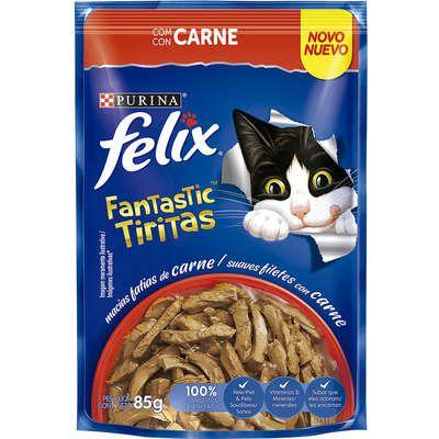 Ração Úmida Nestlé Purina Felix Fantastic Tiritas Carne para Gatos Adultos - 85g