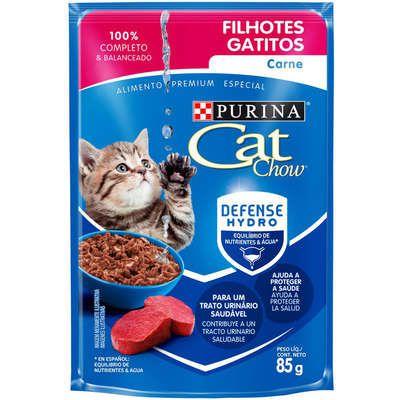 Ração Úmida Nestlé Purina Cat Chow Sachê Filhotes Carne ao Molho - 85g