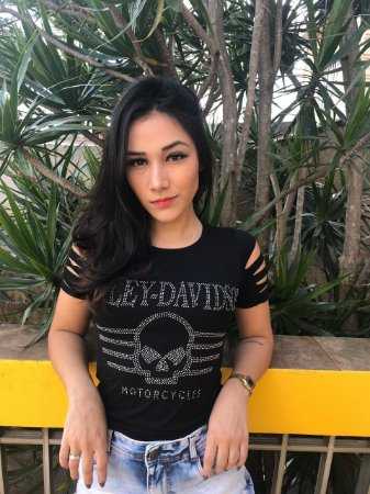 Camiseta Babylook Rock Harley Davidson Caveira