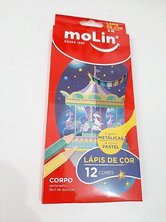 Kit 12 Lápis Pastel e Metalizado Molin
