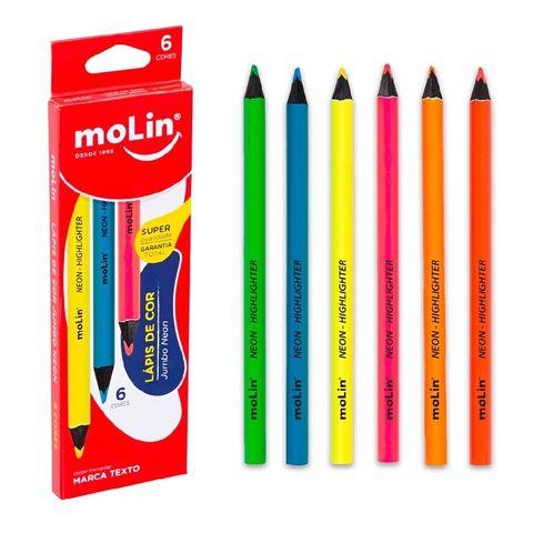 Kit Lápis Neon Jumbo Molin
