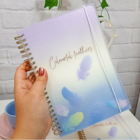 Caderno Glitter Feathers
