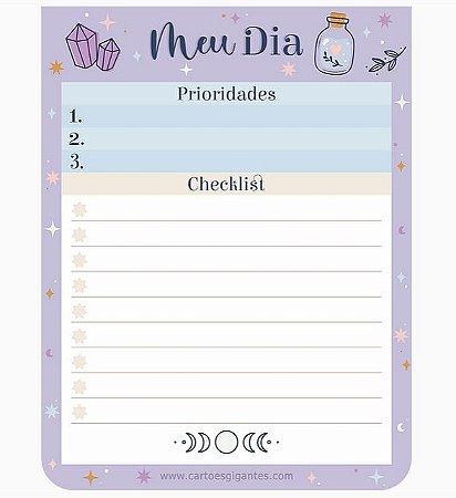 Checklist/ Planejador Diário Cartões Gigantes