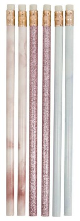 Lápis HB Luxo Glitter e Marmorizado Hema
