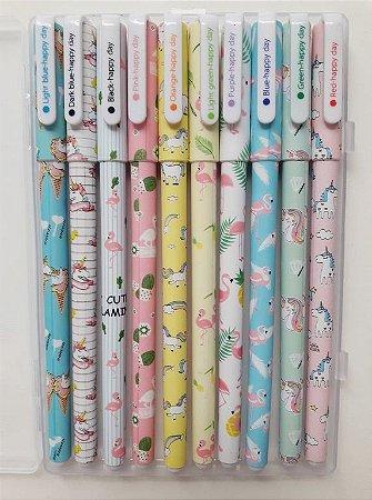 Kit com 10 canetas coloridas flamingos e unicórnios