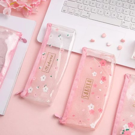 Estojo Sakura Flor Cerejeira Glitter