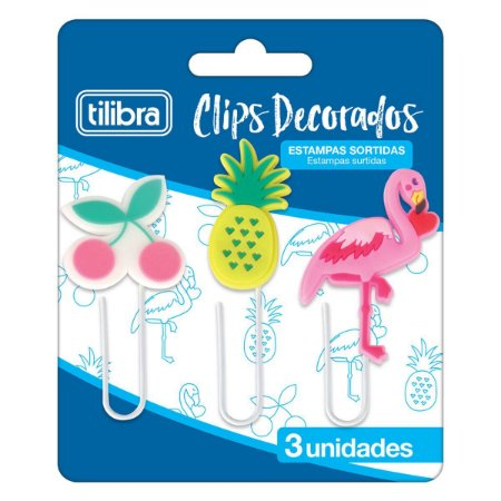 Clips Decorados Tilibra (Kit c/ 3)