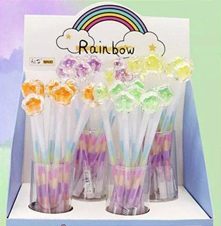 Caneta Colorida Flor Holográfica