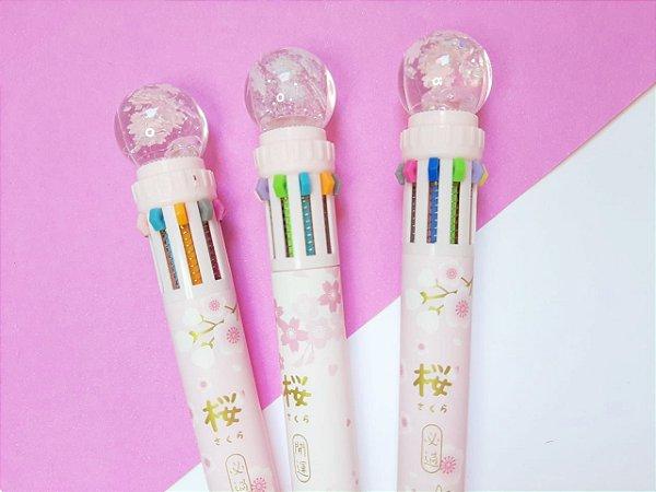 Caneta 10 Cores Flor e Glitter