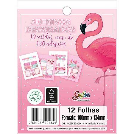 Cartela de Adesivos Flamingo