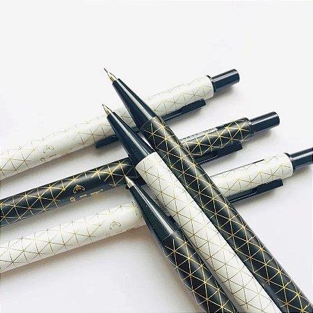 Lapiseira Luxo Preta, Branca e Dourada
