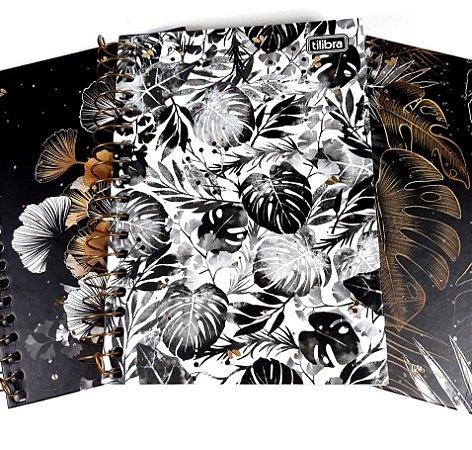 Caderneta Folhas Preto e Branco