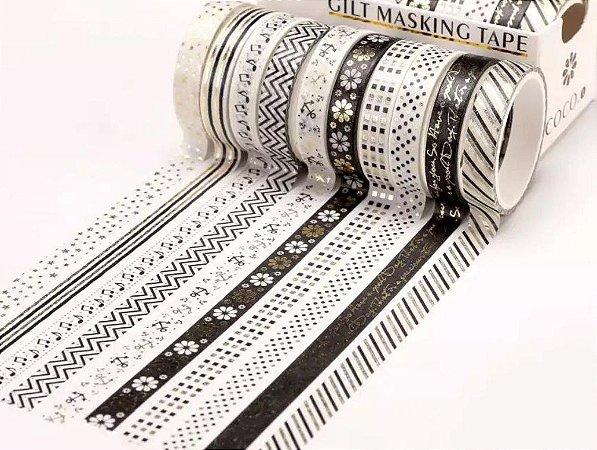 Washi Tape Fininha Preto e Branco