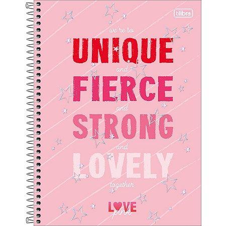 Caderno 12 Matérias Love Pink