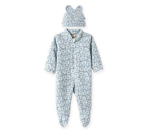 Macacão longo c/ Touca para bebê em Soft Ursinhos Azul - Pingo Lelê 66735