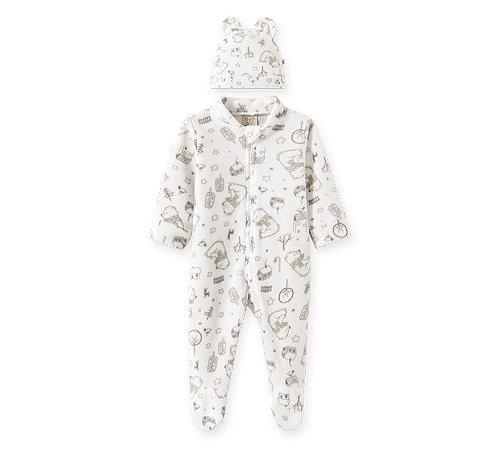 Macacão longo c/ Touca para bebê em Soft Ursinhos Branco - Pingo Lelê 66735