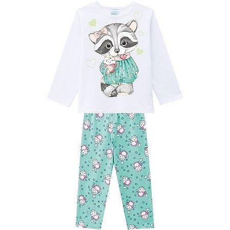 Pijama Inverno Infantil Guaxinim Anti Mosquito Kyly 2075266 Branco