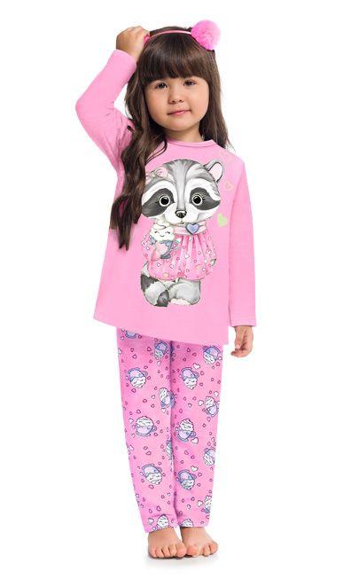 Pijama Inverno Infantil Guaxinim Anti Mosquito Kyly 20752666 Rosa