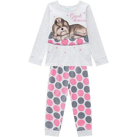 Pijama Inverno Infantil Dog Brilha no Escuro Kyly 20752888 Mescla