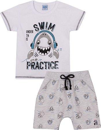 Conjunto Infantil Camiseta + Short Moletinho Tubarão Serelepe 6770